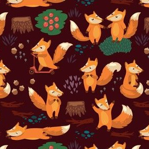 cartoon foxes in night forest