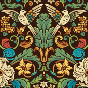 birds in acanthus leaves