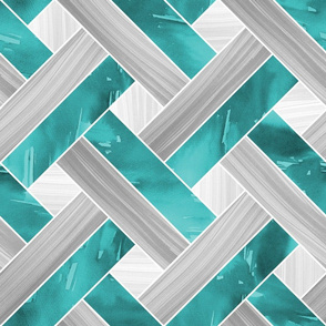 Basketweave Parquetry - Teal