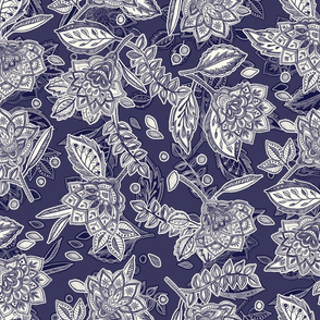 Navy Blue & Cream Floral Doodle Scatter Pattern