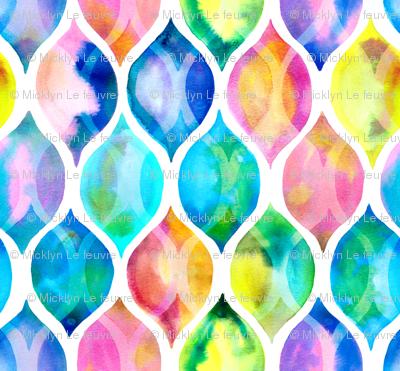 Radiant Rainbow Watercolor Ogee Pattern