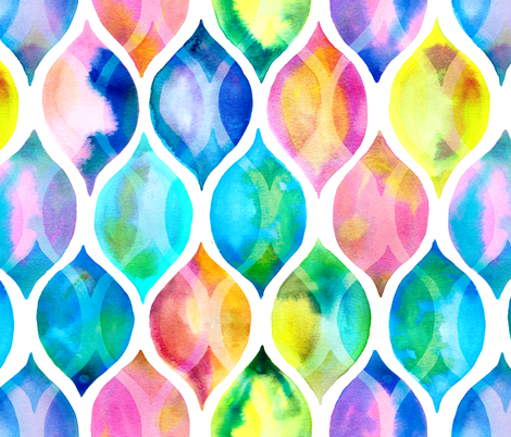 Radiant Rainbow Watercolor Ogee Pattern fabric by micklyn on Spoonflower - custom fabric