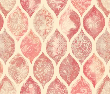 Coral Pattern Fabric cream & coral doodle decorated watercolor ogee pattern fabric