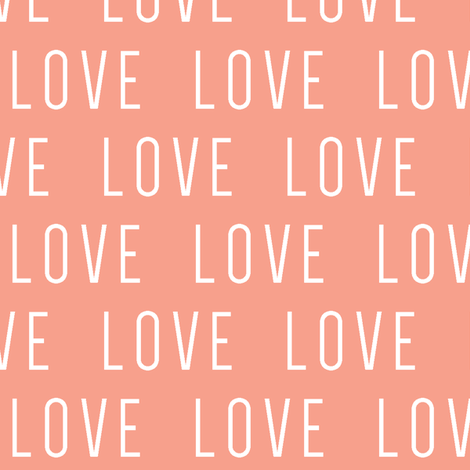 LOVE // Coral fabric by littlearrowdesign on Spoonflower - custom fabric