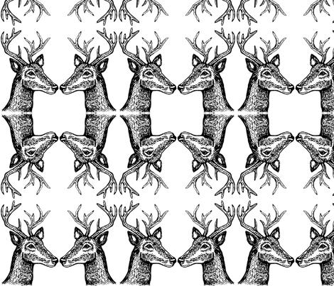 Deer_Mirror fabric by kelly_korver on Spoonflower - custom fabric