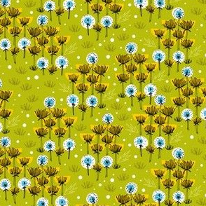 Dandelion Field || flower floral grass spring summer seeds sketch garden