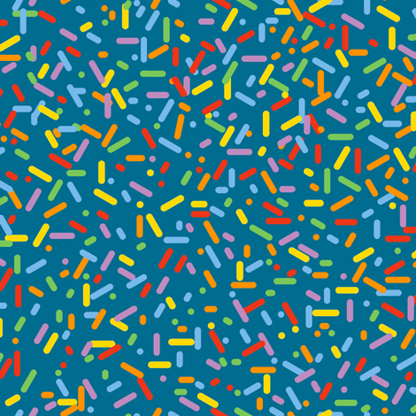 Sprinkled (Rainbow on Midnight) || sprinkles cupcake donut doughnut dessert sweets ice cream scatter children kids fabric by pennycandy on Spoonflower - custom fabric