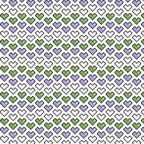 Pixel Heart (Purple, White, and Green) Chevron