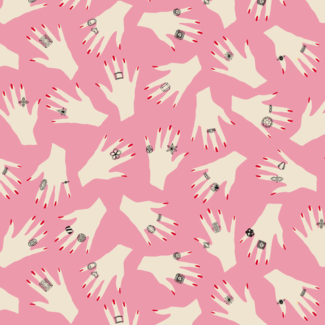 Audrey (Pink) || hand rings costume jewelry fashion beauty fabric by pennycandy on Spoonflower - custom fabric