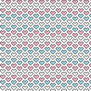 Pixel Heart (Pink, Blue, White) Chevron