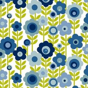 Marguerite (Blue) || vintage sheet mod 70s 60s flower floral leaves stem garden spring summer
