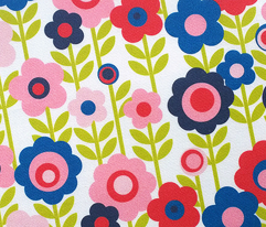 Marguerite (Red) || vintage sheet mod 70s 60s flower floral leaves stem garden spring summer