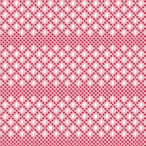 Vivianne (Pink/Red) || souvenir coin purse bead polka dots geometric diamonds lattice