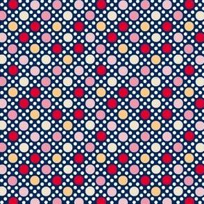 Goldie (Blue/Red)    souvenir coin purse bead polka dots geometric lattice diamonds marquee