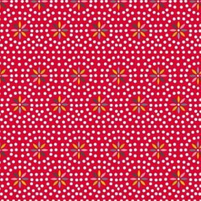 Celia (Red) || souvenir coin purse bead polka dots geometric flower star starburst