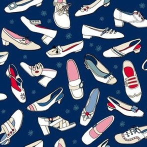 Penelope (Blue/Red) || vintage illustration shoes fashion mod 60s 70s flowers
