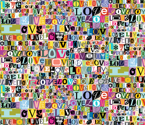 Letters of L-O-V-E* {Revisited}  || valentine valentines day love collage ransom note romance alphabet typography fabric by pennycandy on Spoonflower - custom fabric