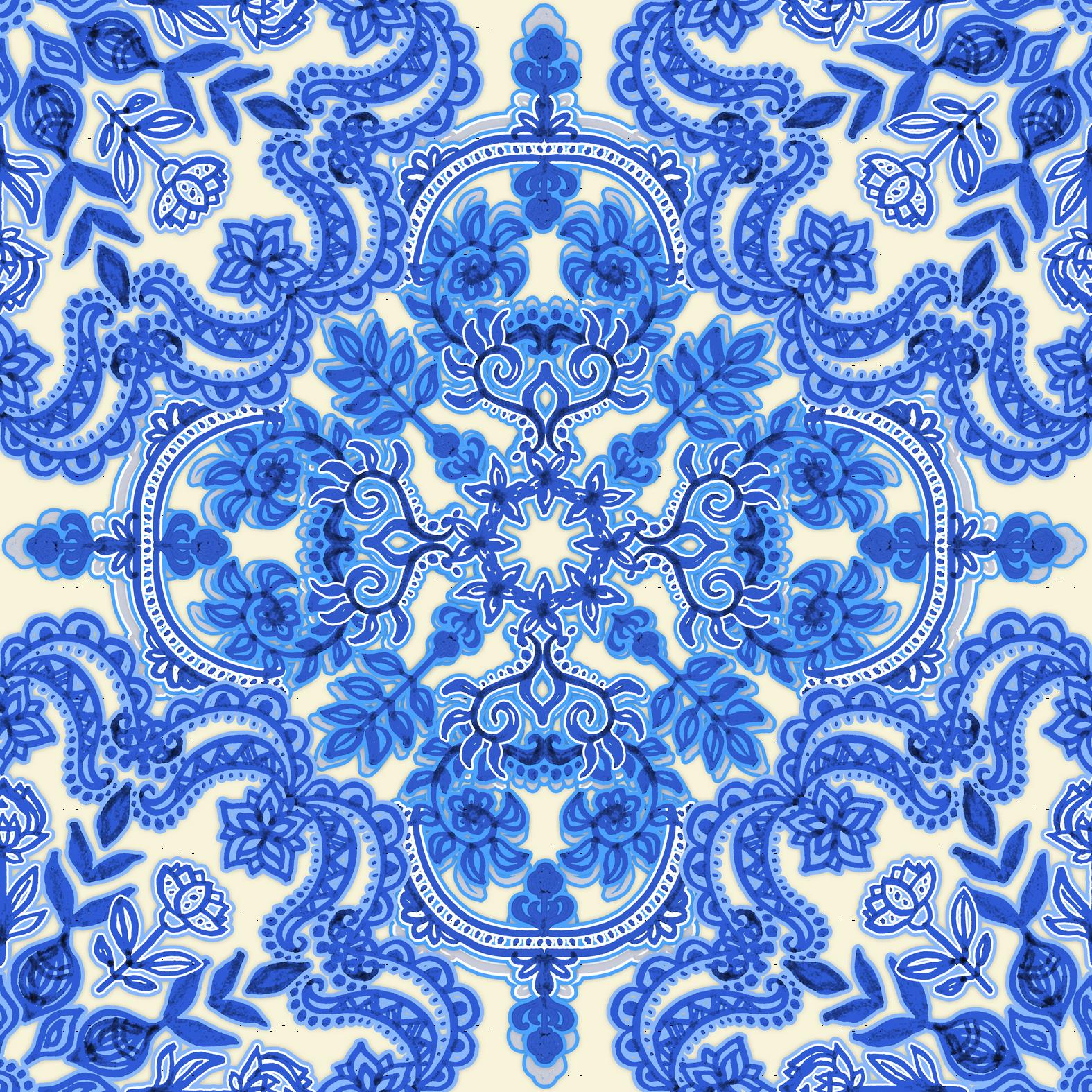 Cobalt Blue China White Folk Art Pattern Wallpaper