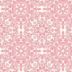 Rose Pink & Cream Folk Art Pattern