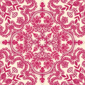 Raspberry Pink & Cream Folk Art Doodle Pattern