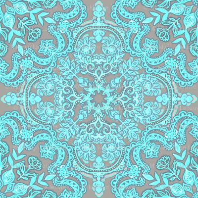 Bright Aqua & Grey Folk Art doodle pattern
