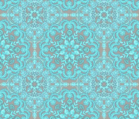 Bright Aqua & Grey Folk Art doodle pattern fabric by micklyn on Spoonflower - custom fabric