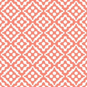 tribal diamonds in coral and white