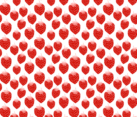 strawberry red pink summer fruit print fabric by charlottewinter on Spoonflower - custom fabric
