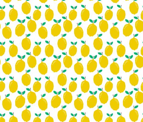 lemon - yellow fruit summer scandi minimal design fabric by charlottewinter on Spoonflower - custom fabric