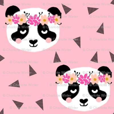 panda flowers pink