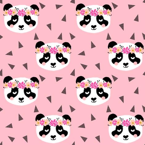 panda flowers pink fabric by charlottewinter on Spoonflower - custom fabric