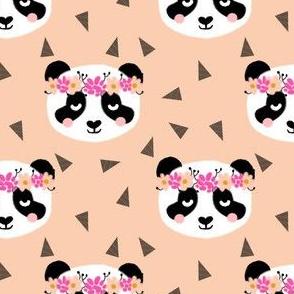 panda flowers peach