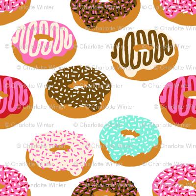 donuts pink chocolate strawberry yummy food print