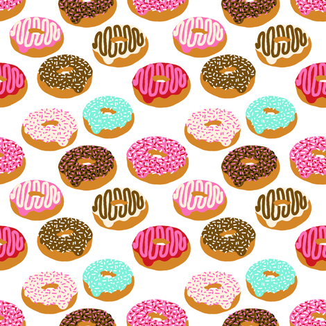 donuts pink chocolate strawberry yummy food print fabric by charlottewinter on Spoonflower - custom fabric