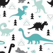 Adorable dino boys fabric with black and blue dinosaur geometric triangles and funky animal illustration theme for kids