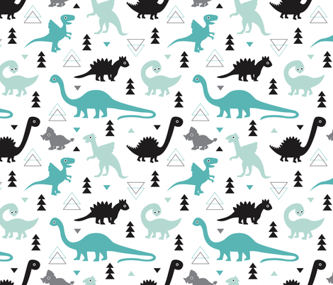 Adorable dino boys fabric with black and blue dinosaur geometric triangles and funky animal illustration theme for kids fabric by littlesmilemakers on Spoonflower - custom fabric