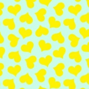 yellow hearts on mint