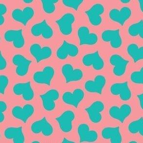 dark mint hearts on pink