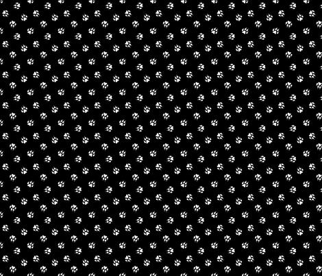 Trotting paw prints coordinate - black fabric by rusticcorgi on Spoonflower - custom fabric