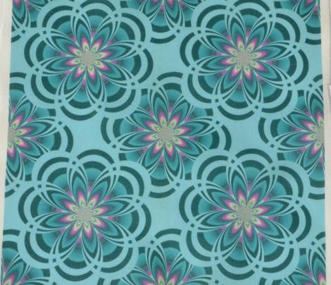 Aqua Fractal Flowers