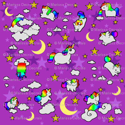 Fat unicorns fabric artrampage spoonflower for Space unicorn fabric