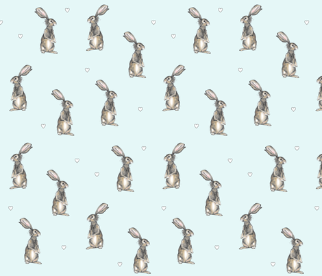 Rabbits + Hearts on Blue fabric by taraput on Spoonflower - custom fabric