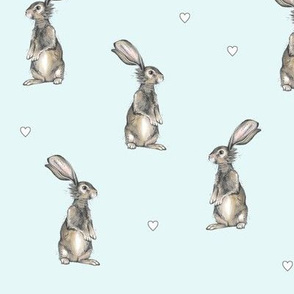 Rabbits + Hearts on Blue
