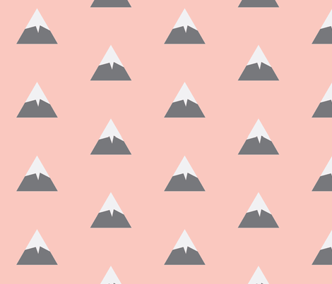 Snowy Mountain Peach fabric by portage_and_main on Spoonflower - custom fabric