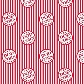 Fresh Delicious Popcorn (Christmas red, small with closer logos)
