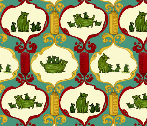 Picklepuss and the Mini Gherkittens fabric by ceanirminger on Spoonflower - custom fabric
