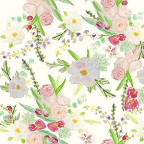 floral water color fabric