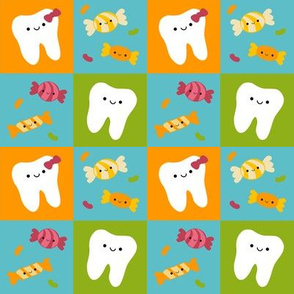Happy Teeth Checkerboard - Blue, Orange, Green