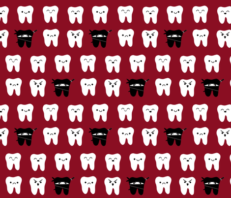 Way of the Ninja Tooth - Red fabric by clayvision on Spoonflower - custom fabric