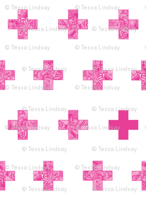 Pink crosses on white